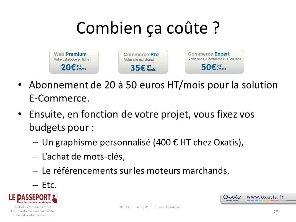 Module E-Commerce n°3/3 Comment améliorer lefficacité de votre site marchand Combien ça coûte ? Abonnement de 20 à 50 euros HT/mois pour la solution E