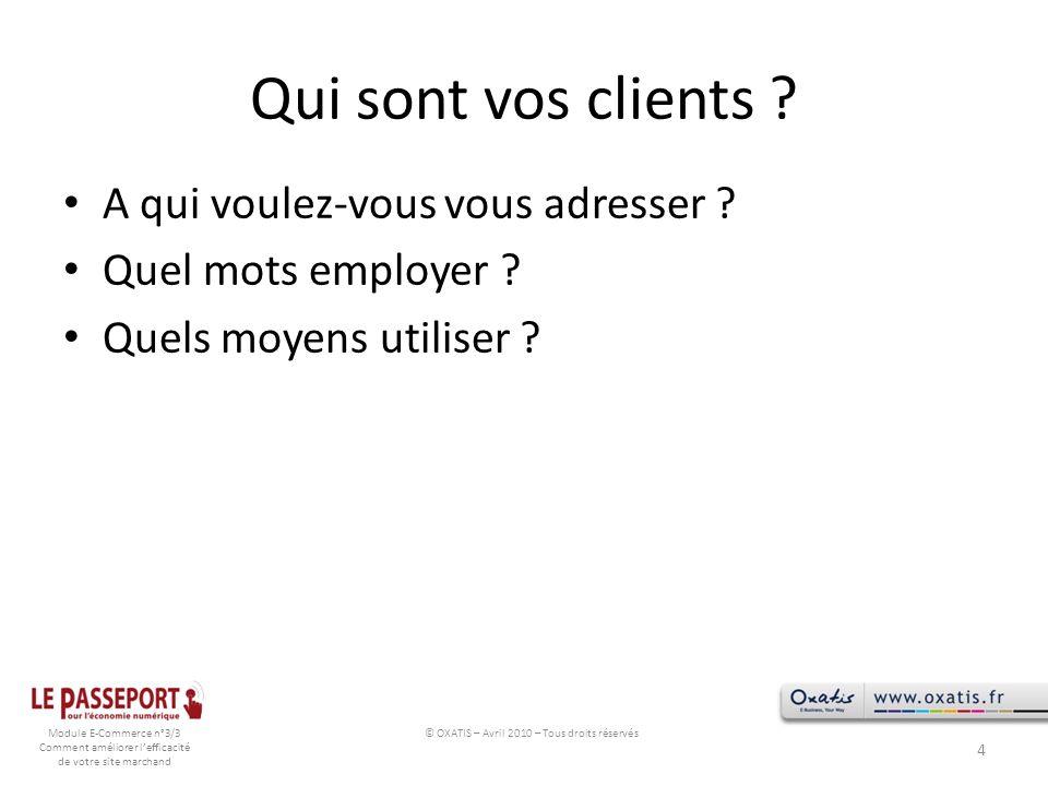 Module E-Commerce n°3/3 Comment améliorer lefficacité de votre site marchand Qui sont vos clients ? A qui voulez-vous vous adresser ? Quel mots employ