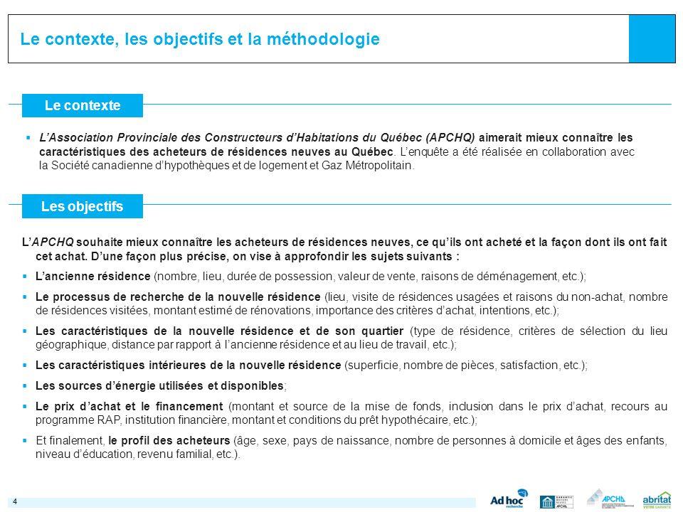 44 Le contexte Les objectifs LAssociation Provinciale des Constructeurs dHabitations du Québec (APCHQ) aimerait mieux connaître les caractéristiques d