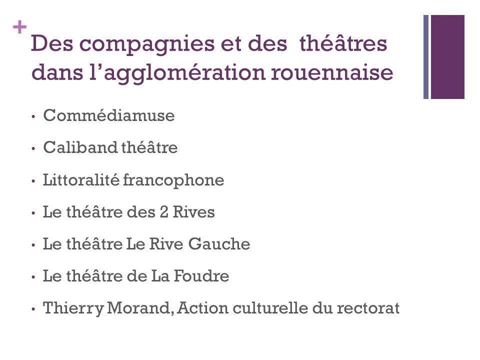 + Des compagnies et des théâtres dans lagglomération rouennaise Commédiamuse Caliband théâtre Littoralité francophone Le théâtre des 2 Rives Le théâtr