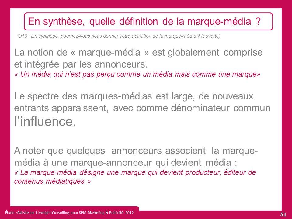 Étude réalisée par Limelight-Consulting pour SPM Marketing & Publicité.