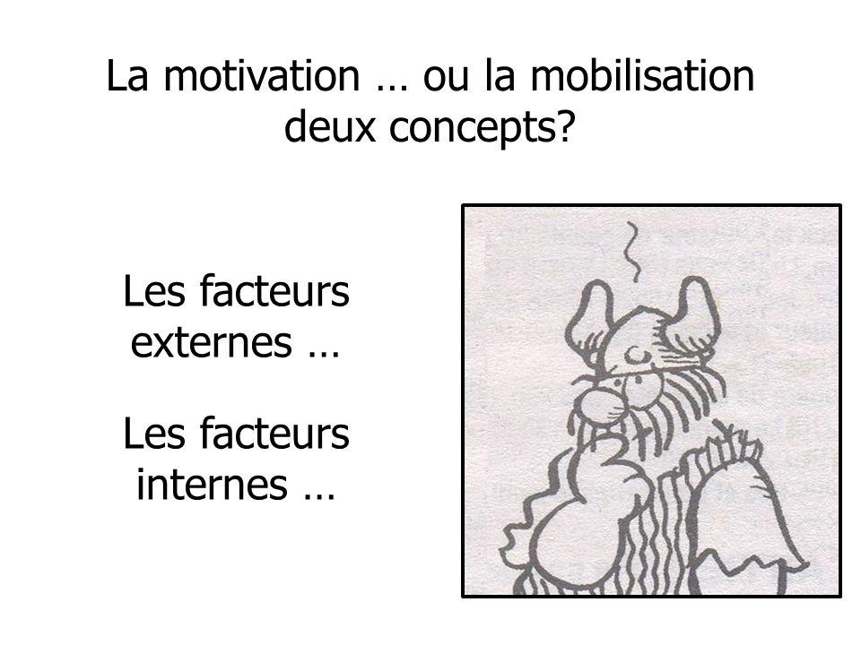 La motivation … ou la mobilisation deux concepts? Les facteurs externes … Les facteurs internes …