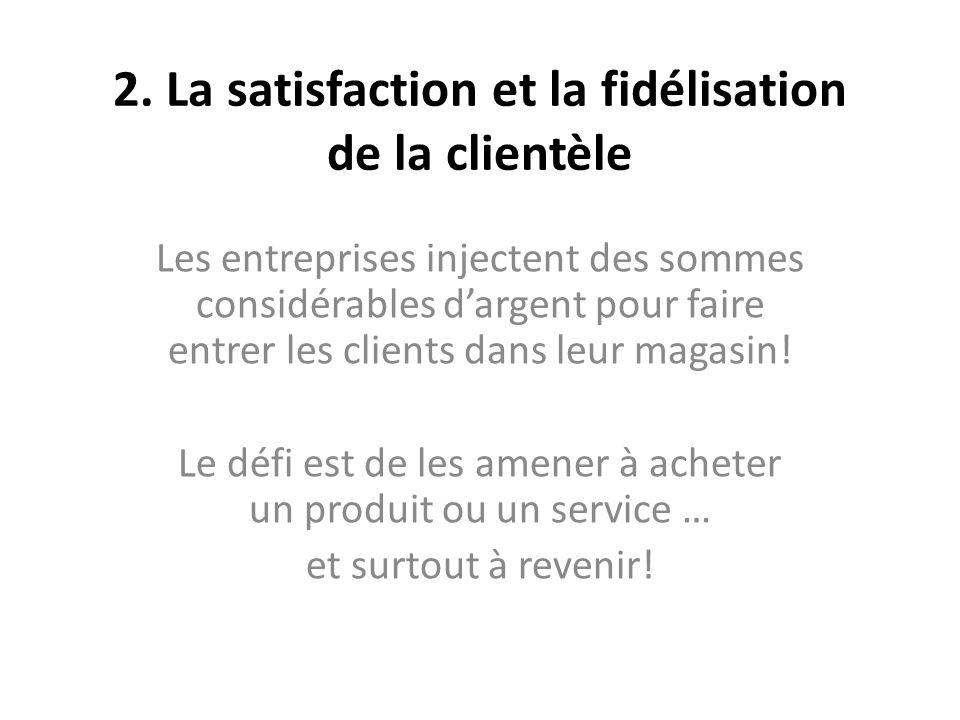 2. La satisfaction et la fidélisation de la clientèle Les entreprises injectent des sommes considérables dargent pour faire entrer les clients dans le