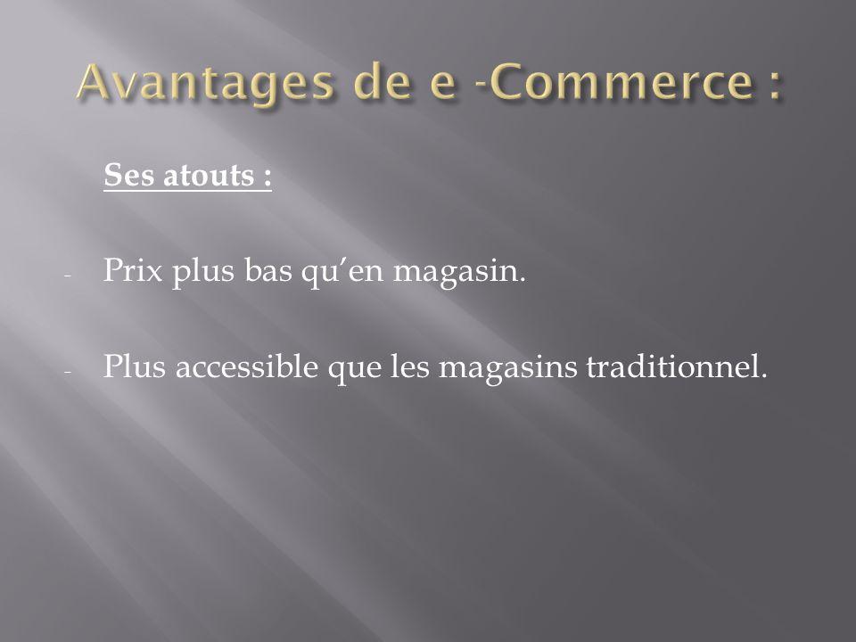 Ses atouts : - Prix plus bas quen magasin. - Plus accessible que les magasins traditionnel.