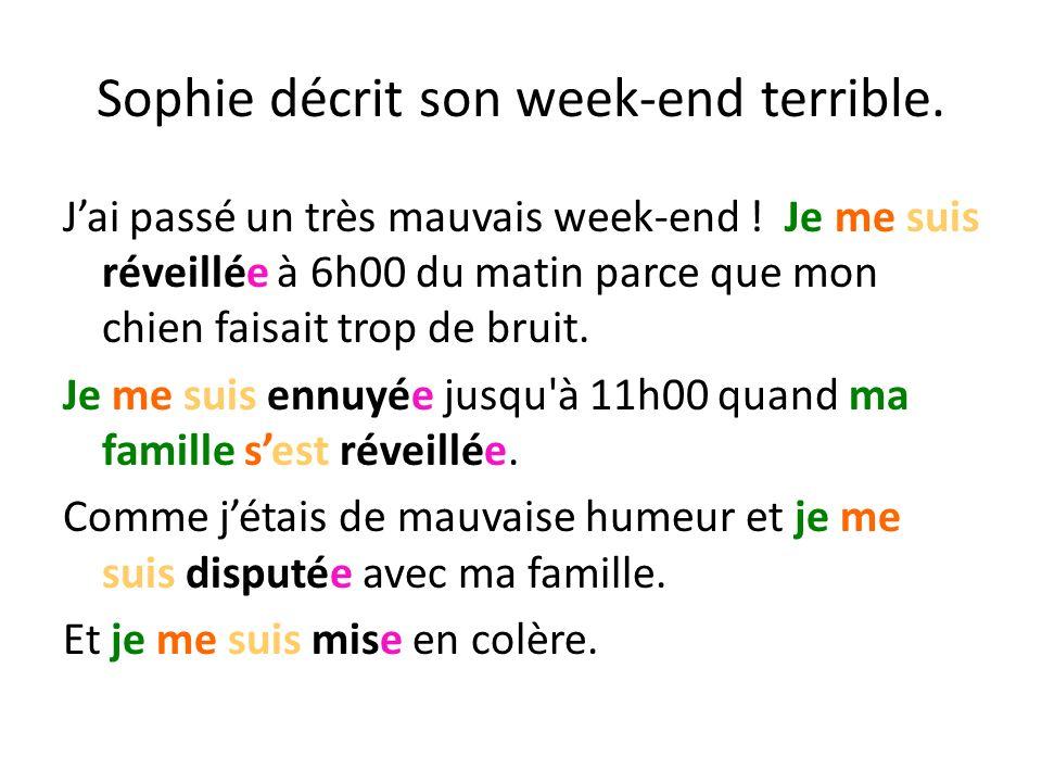 Sophie décrit son week-end terrible. Jai passé un très mauvais week-end .