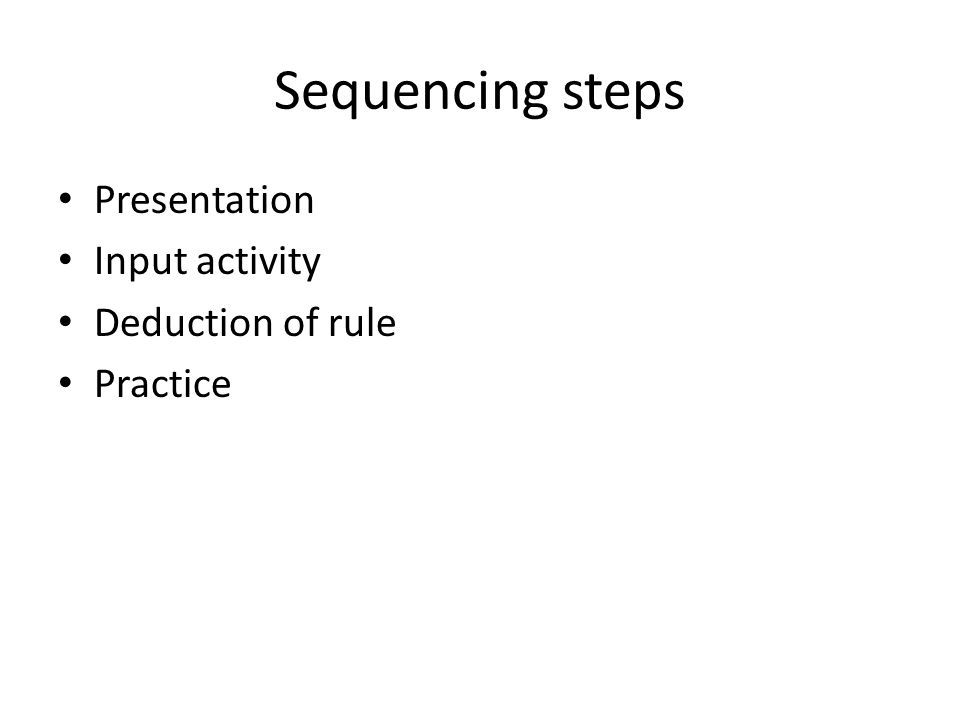 Sequencing steps Presentation Input activity Deduction of rule Practice