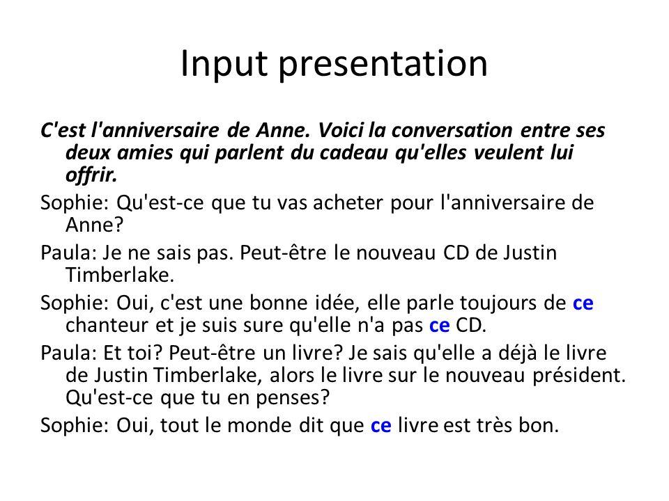 Input presentation C est l anniversaire de Anne.