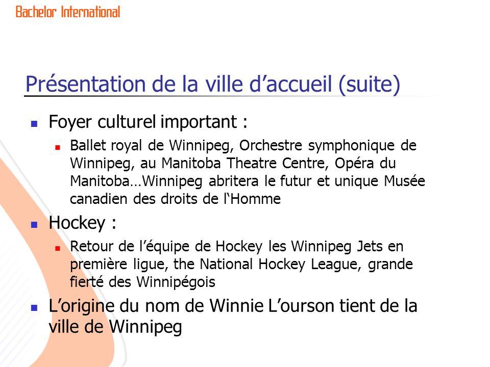 Présentation de la ville daccueil (suite) Foyer culturel important : Ballet royal de Winnipeg, Orchestre symphonique de Winnipeg, au Manitoba Theatre Centre, Opéra du Manitoba…Winnipeg abritera le futur et unique Musée canadien des droits de lHomme Hockey : Retour de léquipe de Hockey les Winnipeg Jets en première ligue, the National Hockey League, grande fierté des Winnipégois Lorigine du nom de Winnie Lourson tient de la ville de Winnipeg
