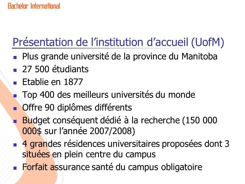 Présentation de linstitution daccueil (UofM) Plus grande université de la province du Manitoba 27 500 étudiants Etablie en 1877 Top 400 des meilleurs