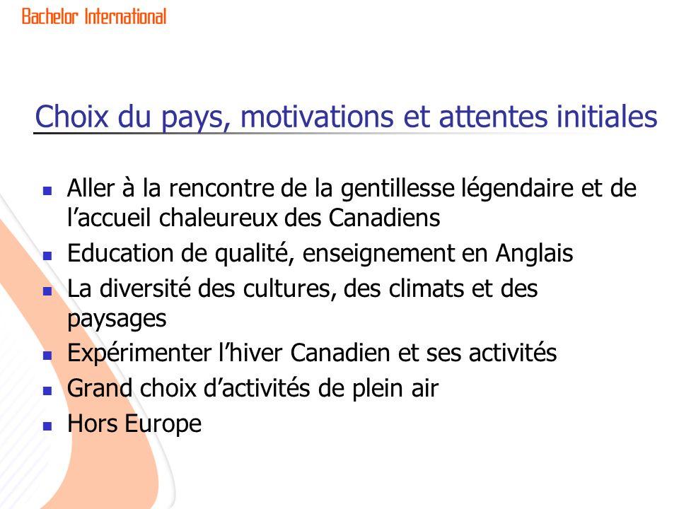 Choix du pays, motivations et attentes initiales Aller à la rencontre de la gentillesse légendaire et de laccueil chaleureux des Canadiens Education d