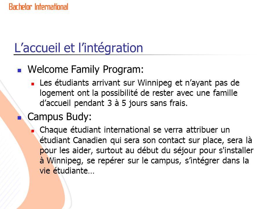Laccueil et lintégration Welcome Family Program: Les étudiants arrivant sur Winnipeg et nayant pas de logement ont la possibilité de rester avec une famille daccueil pendant 3 à 5 jours sans frais.