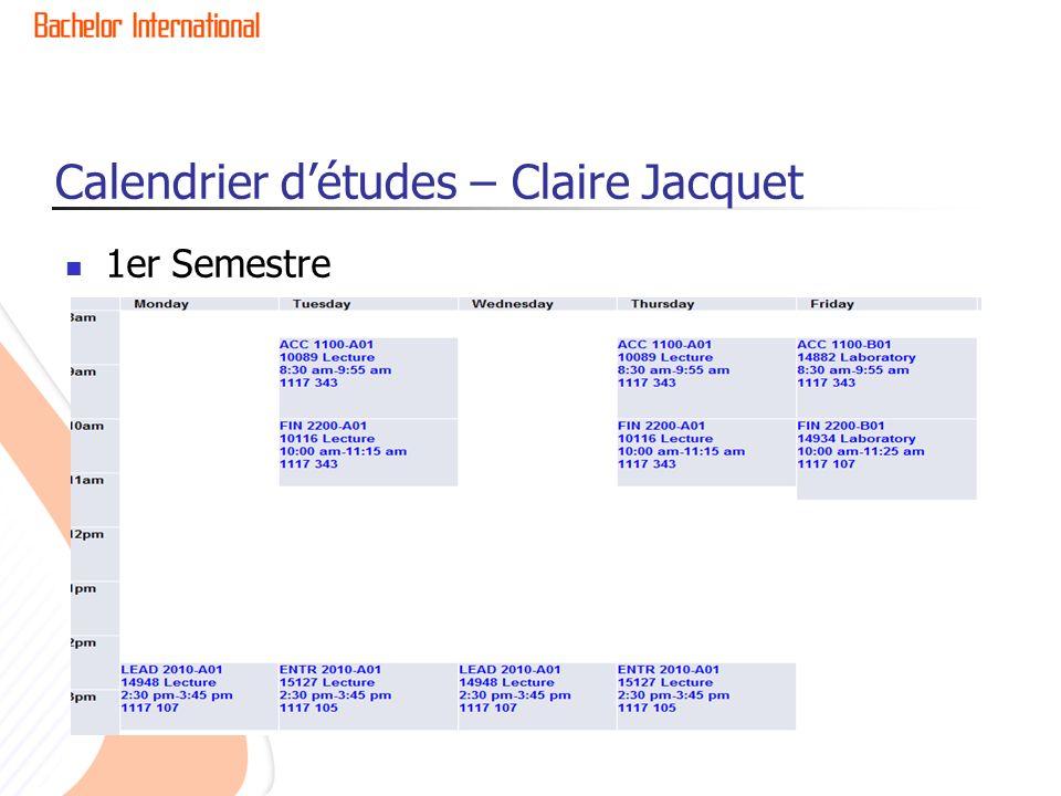 1er Semestre Calendrier détudes – Claire Jacquet