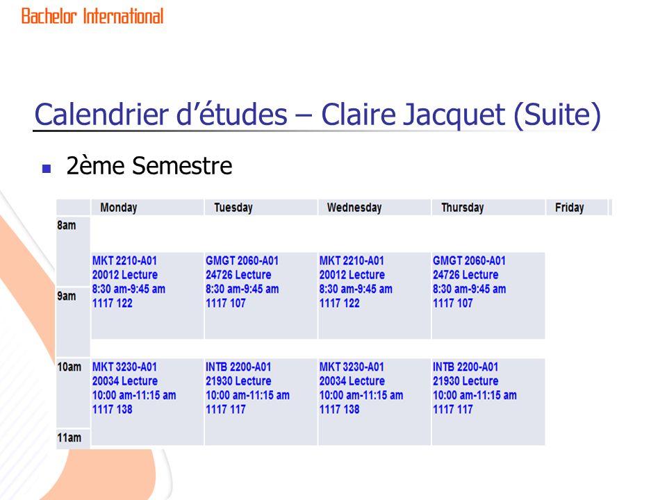 2ème Semestre Calendrier détudes – Claire Jacquet (Suite)