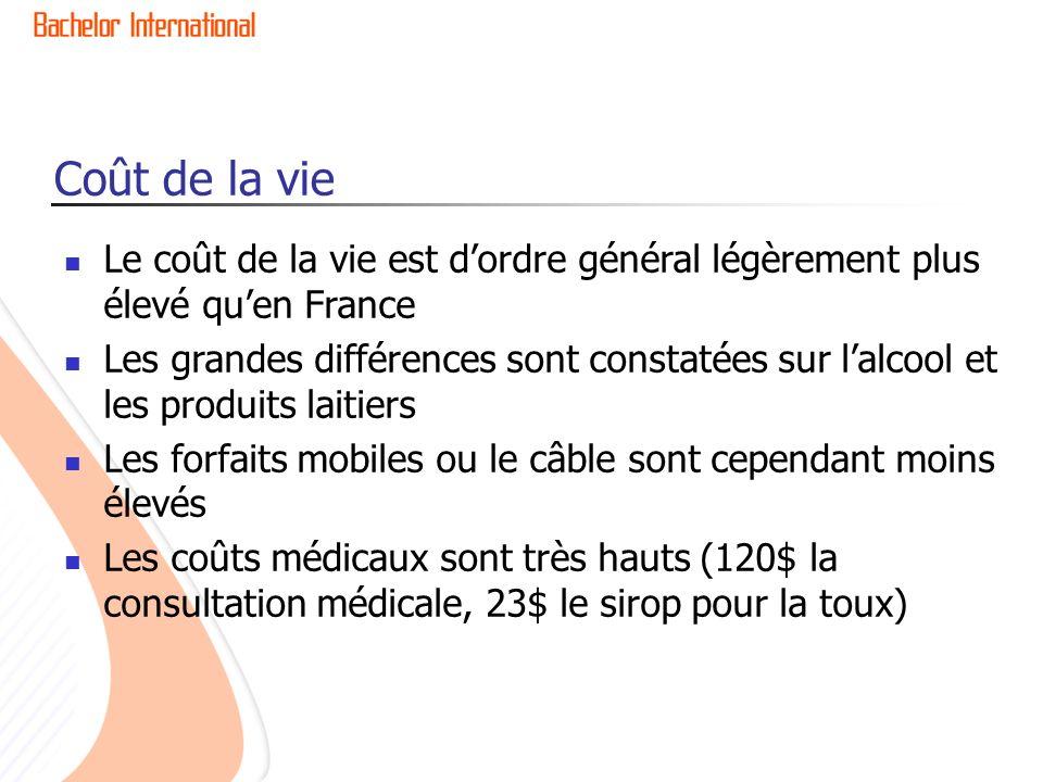 Coût de la vie Le coût de la vie est dordre général légèrement plus élevé quen France Les grandes différences sont constatées sur lalcool et les produ