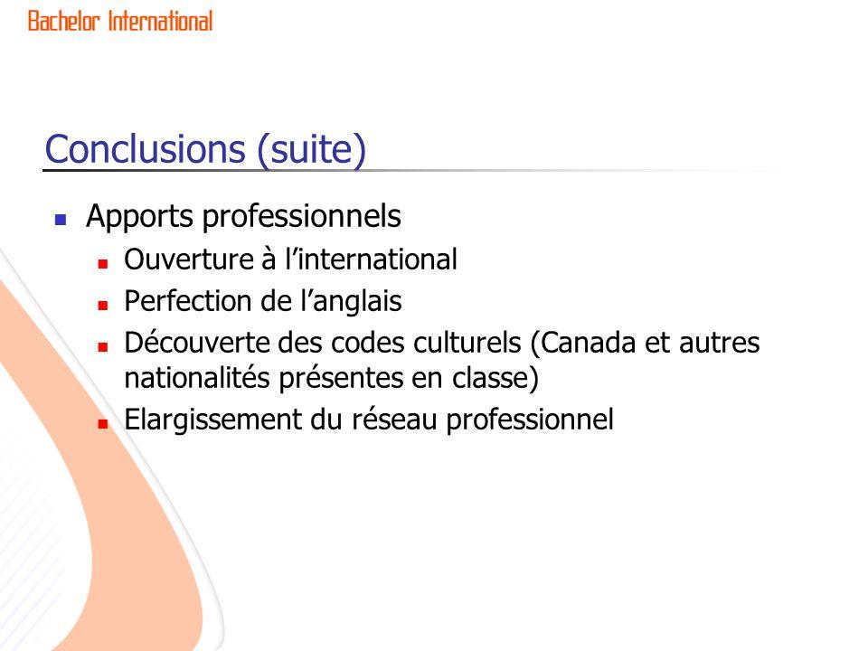 Apports professionnels Ouverture à linternational Perfection de langlais Découverte des codes culturels (Canada et autres nationalités présentes en classe) Elargissement du réseau professionnel Conclusions (suite)