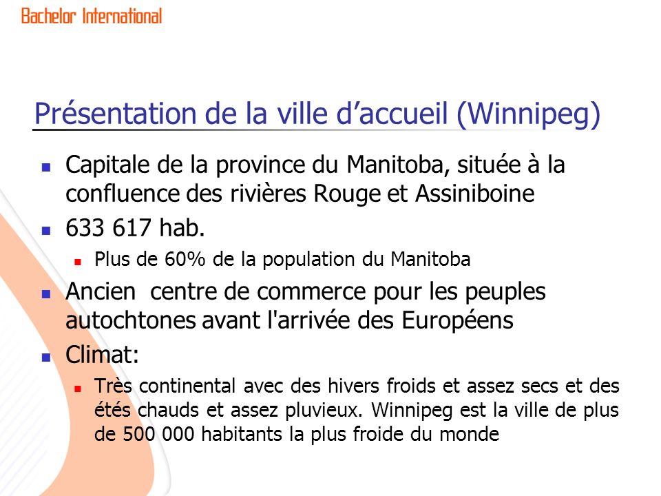 Présentation de la ville daccueil (Winnipeg) Capitale de la province du Manitoba, située à la confluence des rivières Rouge et Assiniboine 633 617 hab.