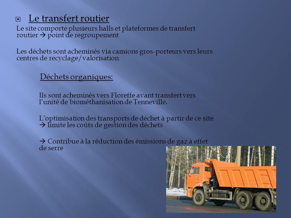 Le transfert routier Le site comporte plusieurs halls et plateformes de transfert routier point de regroupement Les déchets sont acheminés via camions