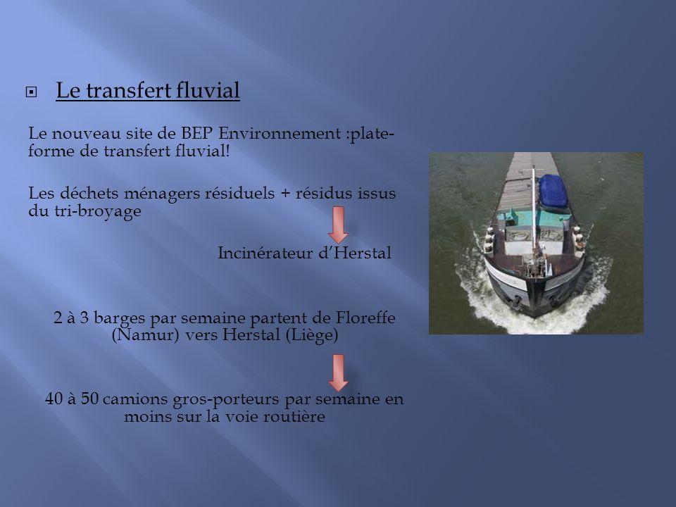 Le transfert fluvial Le nouveau site de BEP Environnement :plate- forme de transfert fluvial! Les déchets ménagers résiduels + résidus issus du tri-br