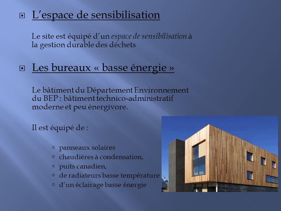 Lespace de sensibilisation Le site est équipé dun espace de sensibilisation à la gestion durable des déchets Les bureaux « basse énergie » Le bâtiment du Département Environnement du BEP : bâtiment technico-administratif moderne et peu énergivore.