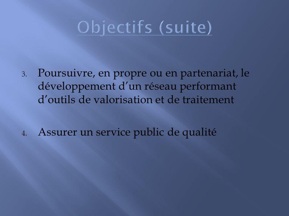 3. Poursuivre, en propre ou en partenariat, le développement dun réseau performant doutils de valorisation et de traitement 4. Assurer un service publ