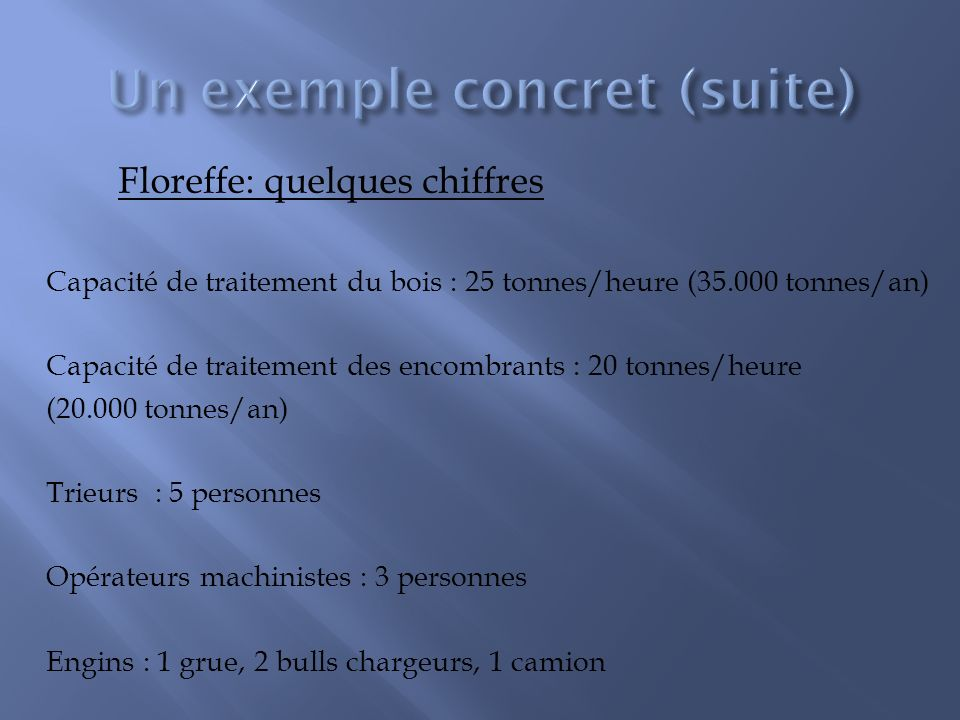Floreffe: quelques chiffres Capacité de traitement du bois : 25 tonnes/heure (35.000 tonnes/an) Capacité de traitement des encombrants : 20 tonnes/heure (20.000 tonnes/an) Trieurs : 5 personnes Opérateurs machinistes : 3 personnes Engins : 1 grue, 2 bulls chargeurs, 1 camion