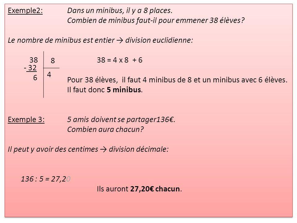 Exemple2:Dans un minibus, il y a 8 places. Combien de minibus faut-il pour emmener 38 élèves? Le nombre de minibus est entier division euclidienne: 38