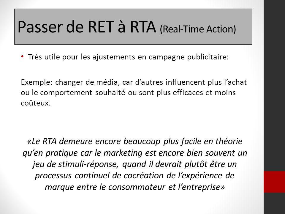 Passer de RET à RTA (Real-Time Action) Très utile pour les ajustements en campagne publicitaire: Exemple: changer de média, car dautres influencent pl