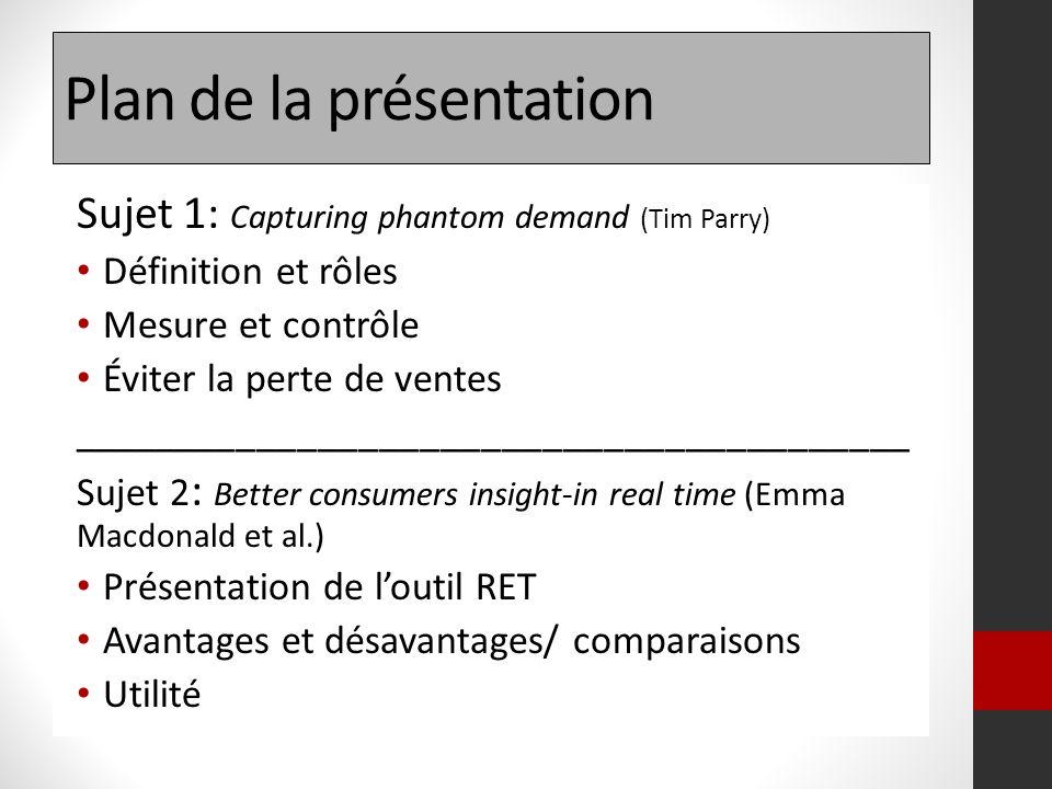Plan de la présentation Sujet 1: Capturing phantom demand (Tim Parry) Définition et rôles Mesure et contrôle Éviter la perte de ventes _______________