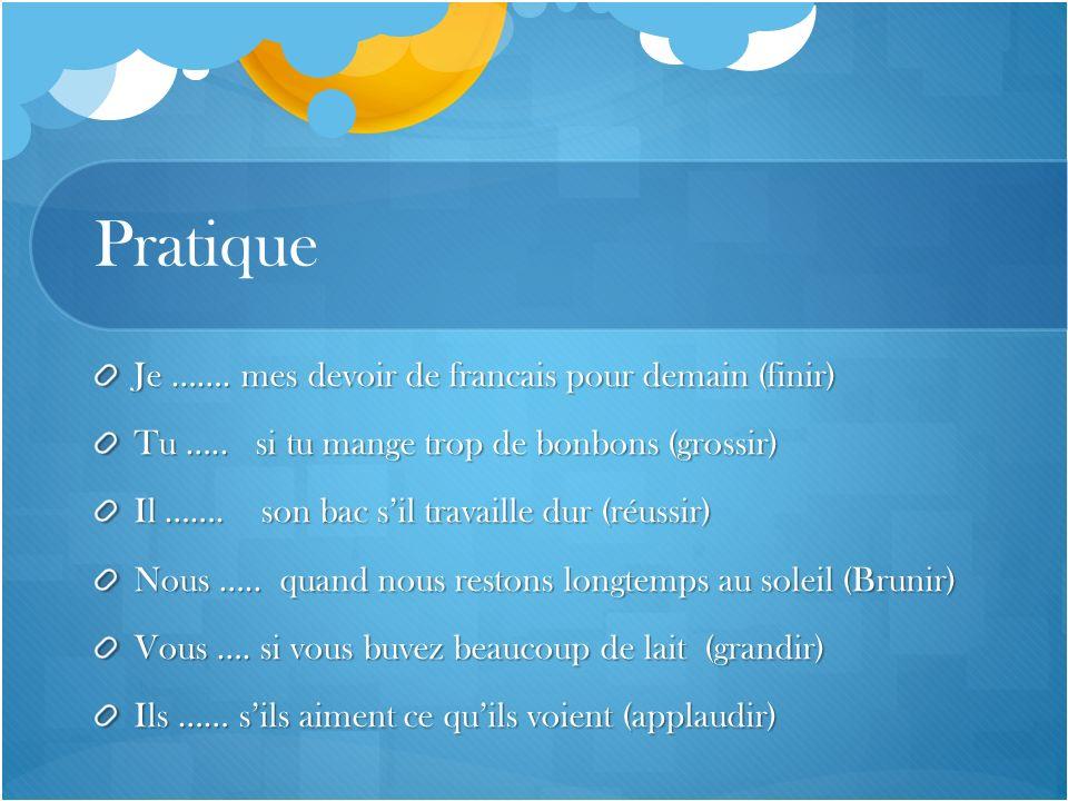Pratique Je ……. mes devoir de francais pour demain (finir) Tu ….. si tu mange trop de bonbons (grossir) Il ……. son bac sil travaille dur (réussir) Nou