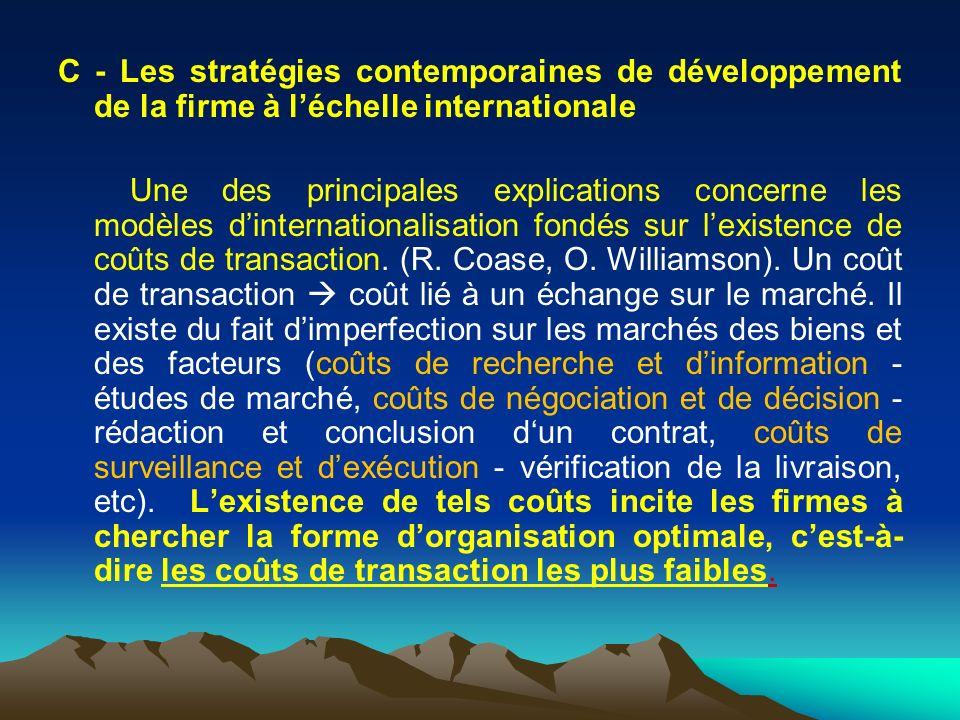 C - Les stratégies contemporaines de développement de la firme à léchelle internationale Une des principales explications concerne les modèles dinternationalisation fondés sur lexistence de coûts de transaction.