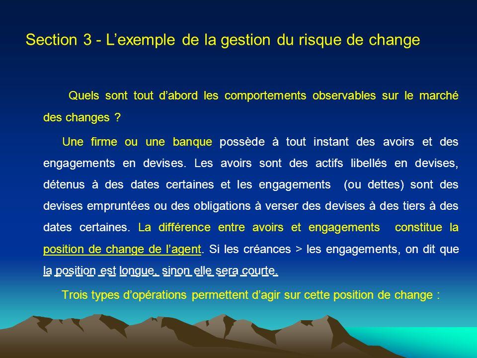 Section 3 - Lexemple de la gestion du risque de change Quels sont tout dabord les comportements observables sur le marché des changes .