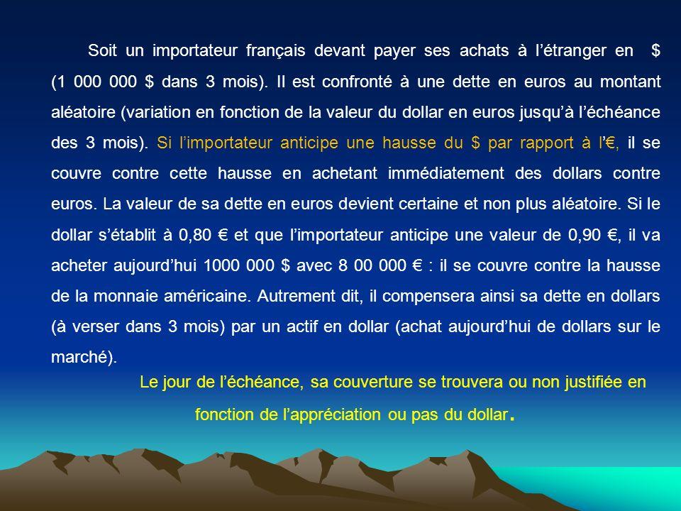 Soit un importateur français devant payer ses achats à létranger en $ (1 000 000 $ dans 3 mois).