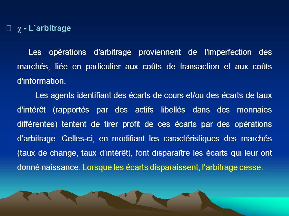 - Larbitrage Les opérations d arbitrage proviennent de l imperfection des marchés, liée en particulier aux coûts de transaction et aux coûts d information.