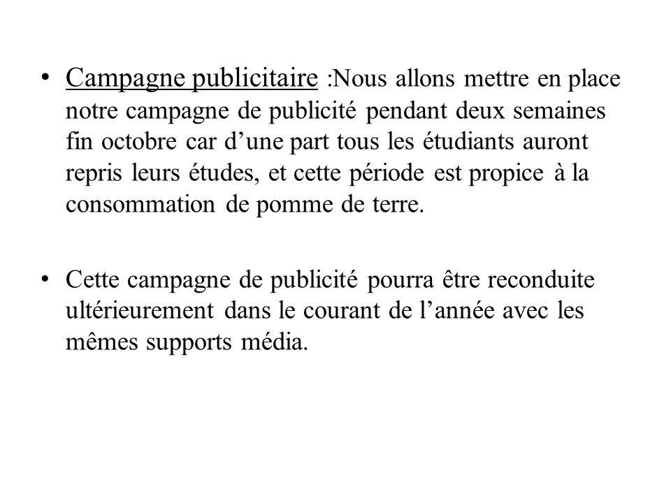 Campagne publicitaire :Nous allons mettre en place notre campagne de publicité pendant deux semaines fin octobre car dune part tous les étudiants auro