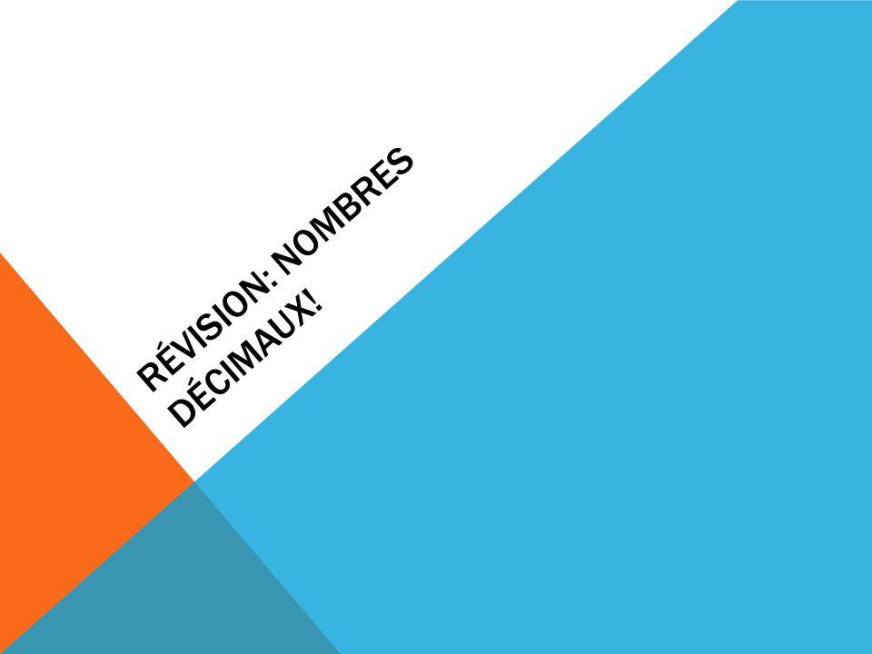 REPRÉSENTER DES NOMBRES DÉCIMAUX Fais un dessin pour représenter les nombres décimaux suivants: a)2,076 b)2,08 c)Encercle le plus grand nombre décimal ?