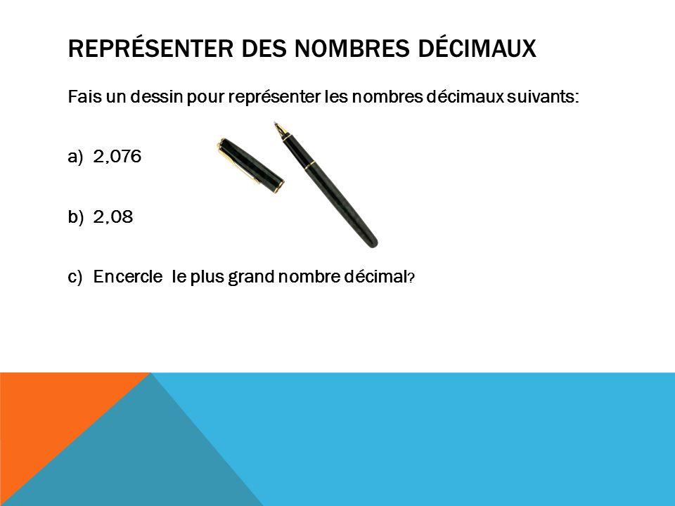 REPRÉSENTER DES NOMBRES DÉCIMAUX Fais un dessin pour représenter les nombres décimaux suivants: a)2,076 b)2,08 c)Encercle le plus grand nombre décimal