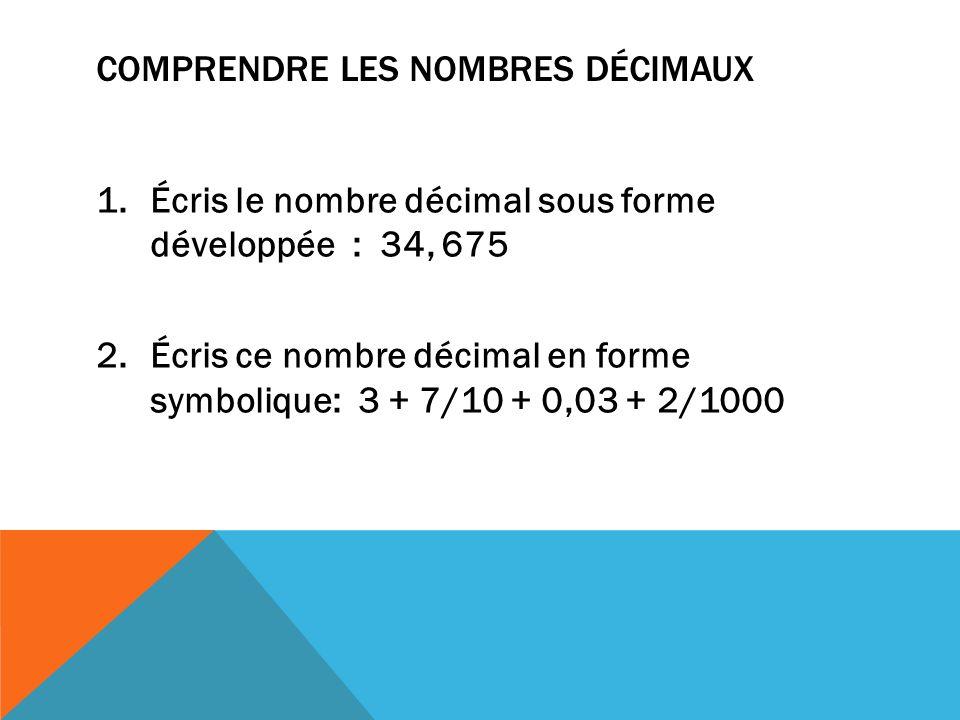 COMPRENDRE LES NOMBRES DÉCIMAUX 1.Écris le nombre décimal sous forme développée : 34, 675 2.Écris ce nombre décimal en forme symbolique: 3 + 7/10 + 0,