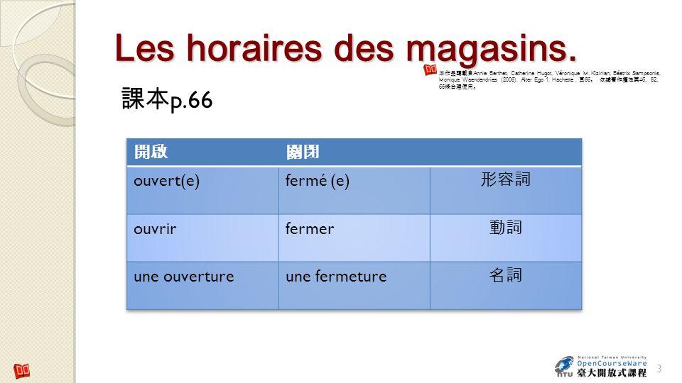 Les horaires des magasins.p.66 3 Annie Berthet, Catherine Hugot, Véronique M.
