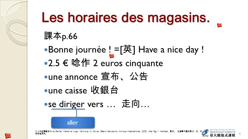 Les horaires des magasins.p.66 Bonne journée . =[ ] Have a nice day .