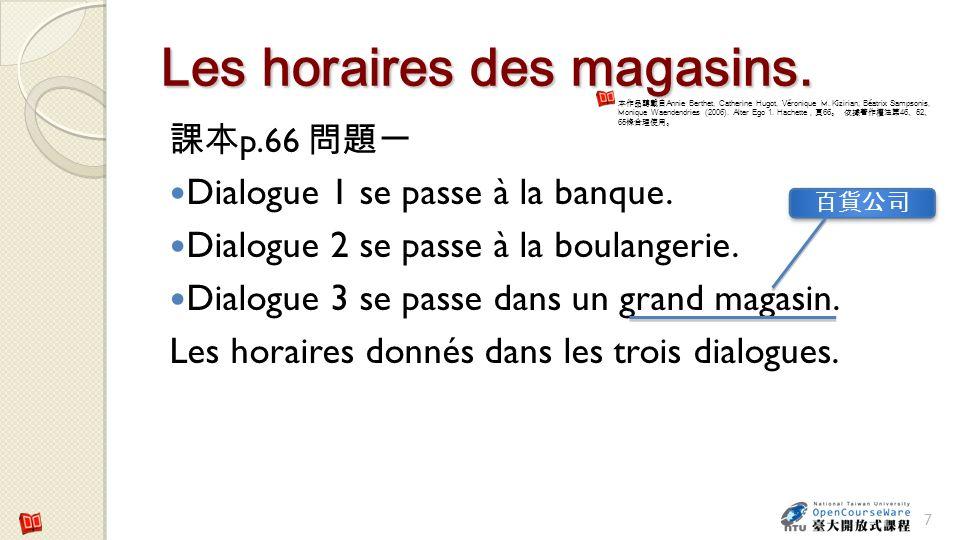 Les horaires des magasins.p.66 Dialogue 1 se passe à la banque.