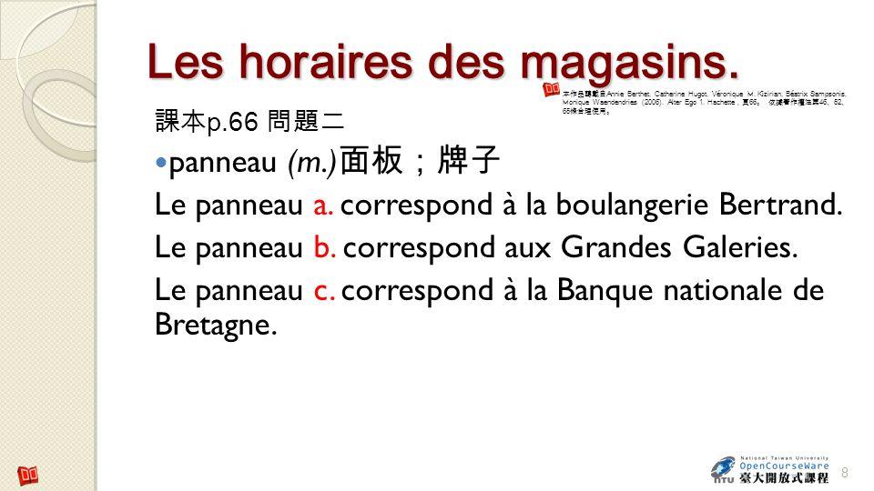 Les horaires des magasins.p.66 panneau (m.) Le panneau a.