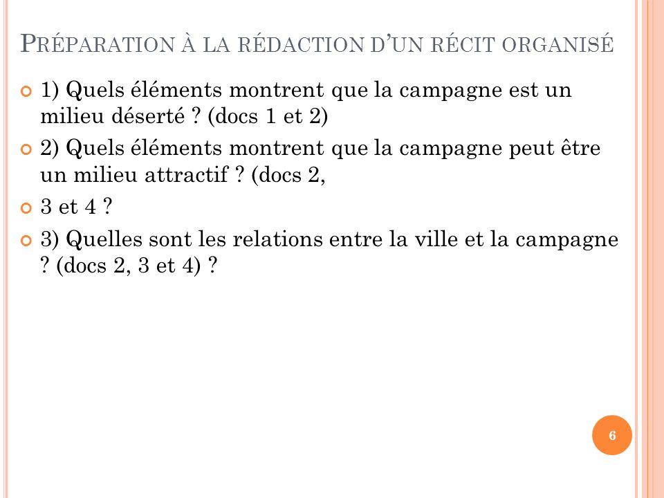P RÉPARATION À LA RÉDACTION D UN RÉCIT ORGANISÉ 1) Quels éléments montrent que la campagne est un milieu déserté ? (docs 1 et 2) 2) Quels éléments mon