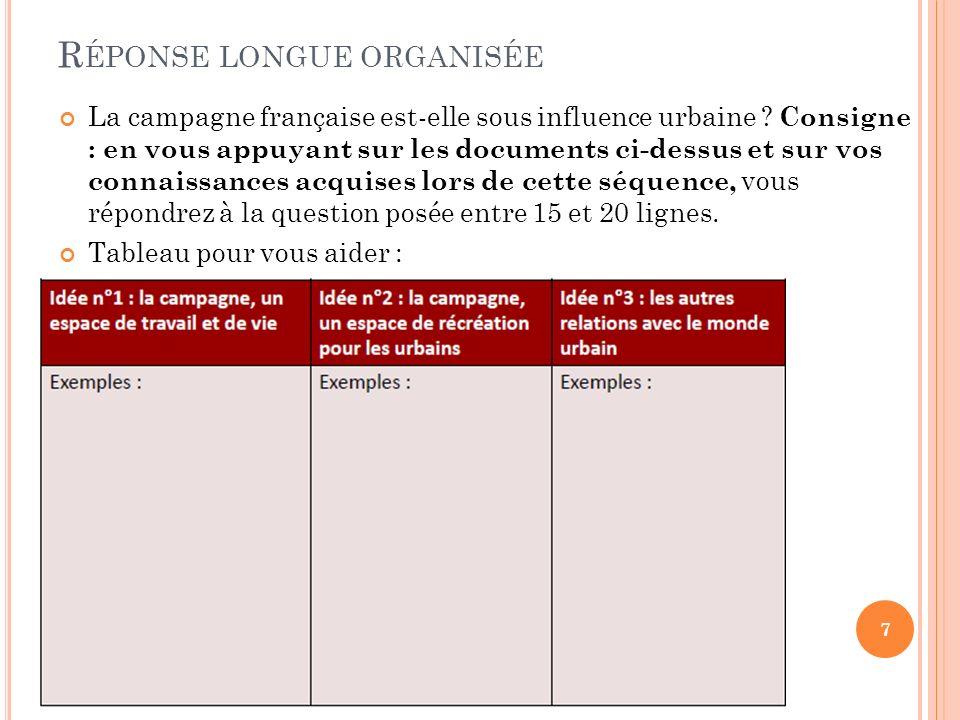 R ÉPONSE LONGUE ORGANISÉE La campagne française est-elle sous influence urbaine ? Consigne : en vous appuyant sur les documents ci-dessus et sur vos c