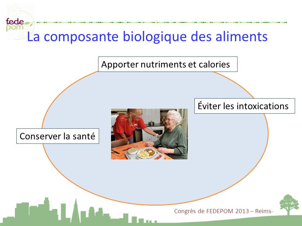 La composante biologique des aliments Apporter nutriments et calories Éviter les intoxications Conserver la santé Congrès de FEDEPOM 2013 – Reims-