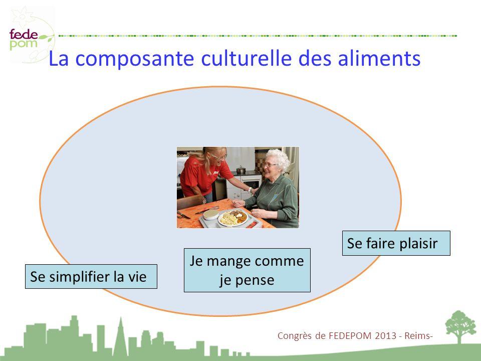 La composante culturelle des aliments Se faire plaisir Se simplifier la vie Je mange comme je pense Congrès de FEDEPOM 2013 - Reims-