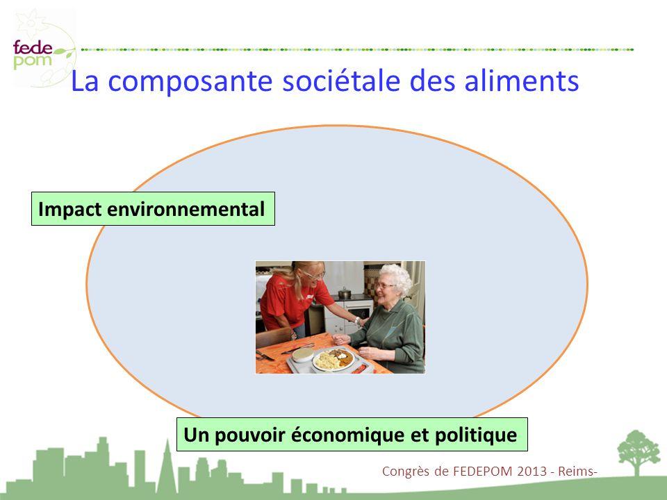 La composante sociétale des aliments Un pouvoir économique et politique Impact environnemental Congrès de FEDEPOM 2013 - Reims-