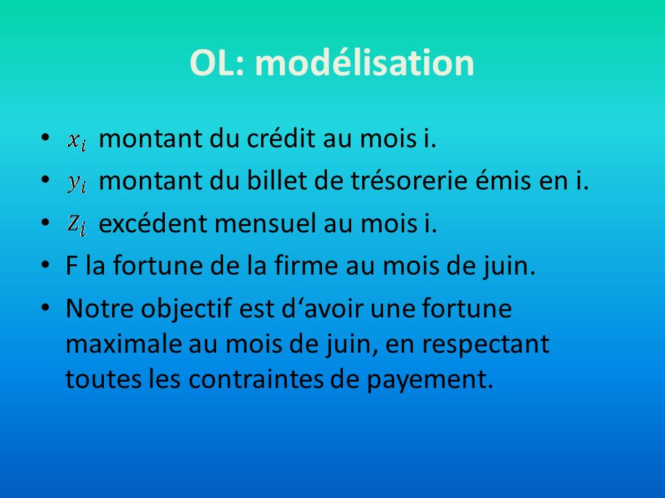 OL: modélisation montant du crédit au mois i. montant du billet de trésorerie émis en i. excédent mensuel au mois i. F la fortune de la firme au mois