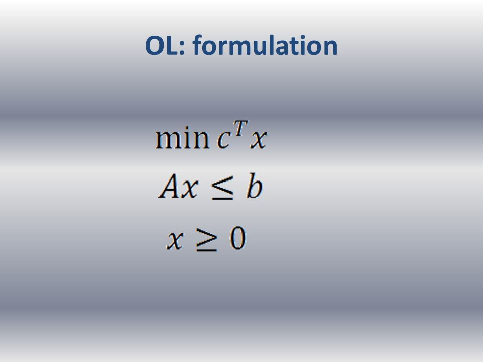 OL: formulation