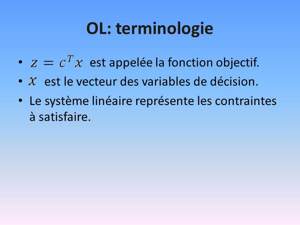 OL: terminologie est appelée la fonction objectif. est le vecteur des variables de décision. Le système linéaire représente les contraintes à satisfai