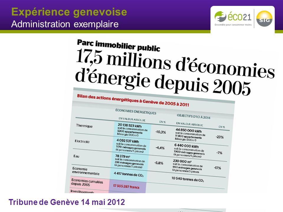 Expérience genevoise Administration exemplaire Tribune de Genève 14 mai 2012
